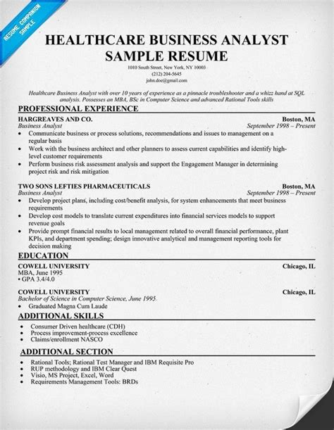 How To Write Resume For Business Analyst by Business Analyst Resume Exles Template