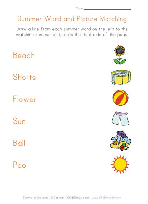 Summer Fun Worksheets For Preschoolers  Summer Vocabulary For Kids Learning English Printable