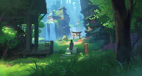 wallpaper anime landscape waterfall fantasy asian