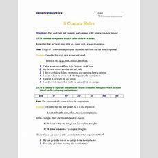 Commas Worksheet 1