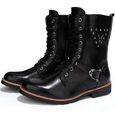 Cool Mens Quality Leather Motorcycle Ankle Boots Rivet