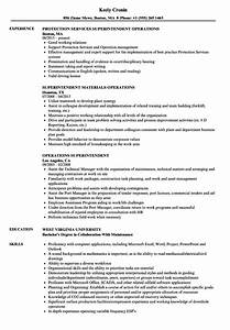 Operations Superintendent Resume Samples