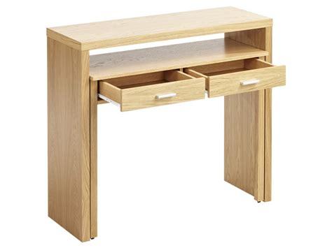 bureau console 2 tiroirs console bureau sisko 2 tiroirs chêne coloris naturel
