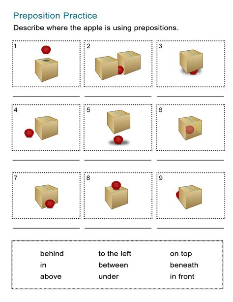prepositions of location worksheet where is the apple