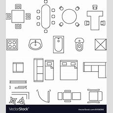 Furniture Linear Symbols Floor Plan Icons Vector Image
