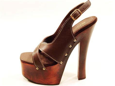 Womens Soca Tall High Heel Wood Platform Strappy Slingback
