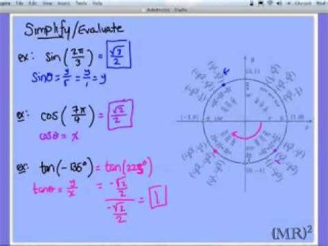 Evaluating Trigonometric Expressions Youtube