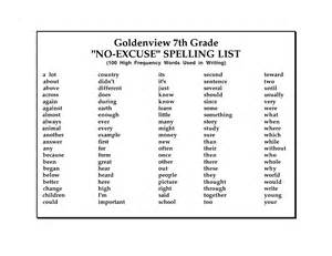 7th Grade Spelling Words List Of Words That 7th Graders