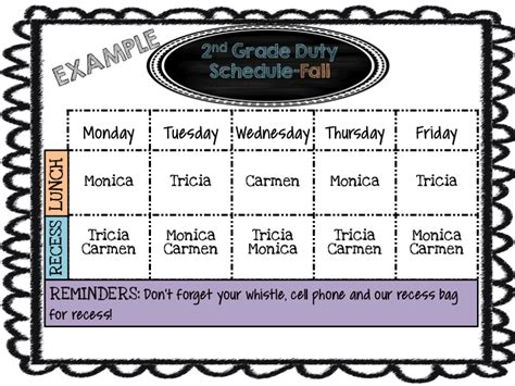 Duty Schedule Template by Mrs Megown S Second Grade Safari Editable Lunch And