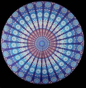 Blue mandala tapestry - Peacock feather Mandala Cotton