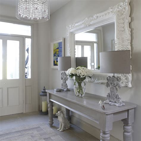 how to decorate shabby chic how to decorate an entry table hall shabby chic style with ornate large mirror gray console