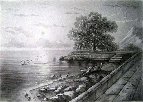 landscape realistic drawings drawing art
