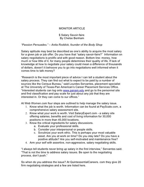 salary negotiation letter savvy salary negotiating