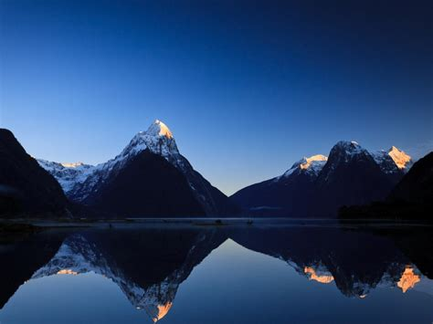 mountains landscapes nature snow lakes reflections ...