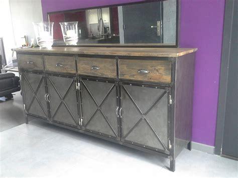 meuble industriel buffet acier et bois belgique meubles