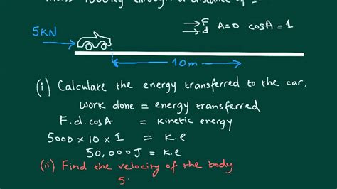 Only that component of the force which runs in the same direction as the displacement causes a change in. Work done = kinetic energy transferred - YouTube