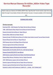 Service Manual Daewoo Dv