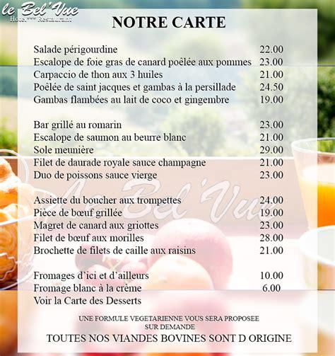 Carte De Menu Restaurant by Menu Du Restaurant 234 L Restaurant Quot Le Bel Vue Quot