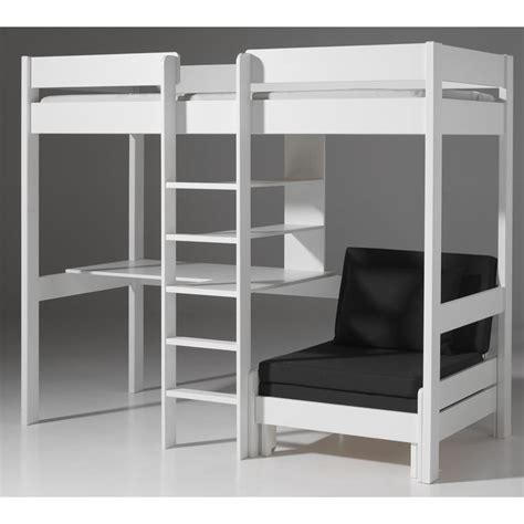 bureau superposé lit mezzanine avec fauteuil quot pino quot blanc