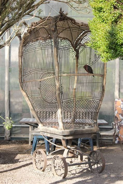 Gabbia Uccelli Antica - antique wire bird cage on weels beautiful antica