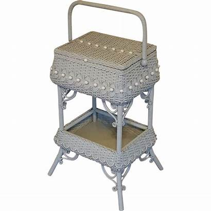 Wicker Sewing Stand Antique Victorian Circa 1890