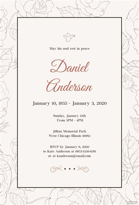simple funeral invitation template  psd ms word