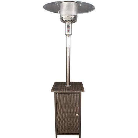 41 000 btu outdoor propane heater with wicker stand www