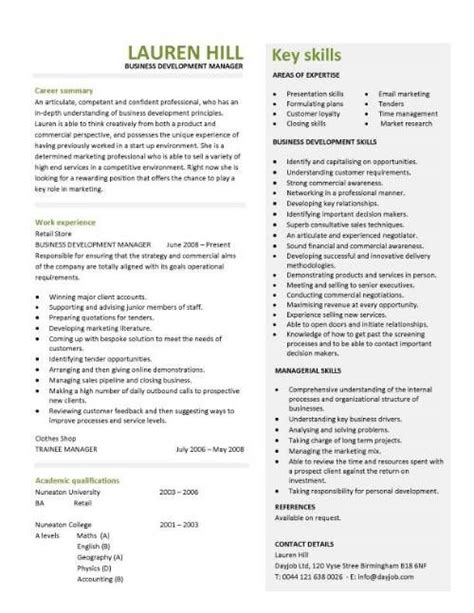 Developer Resume Exle by Business Development Manager Cv Template Managers Resume