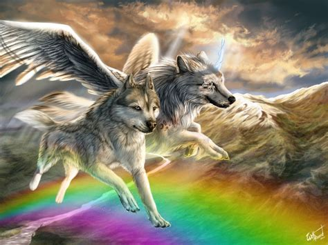 Anime Rainbow Wolf Wallpaper by The Rainbow By Wolfroad On Deviantart Wolves In