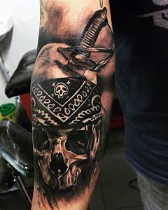 Gun In Pirate Skeleton Hand Tattoo Design For Sleeve