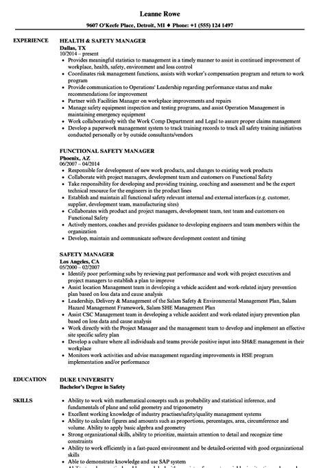 safety manager resume sles velvet
