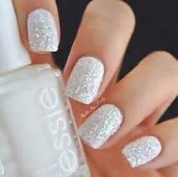 White amp glitter nail polish