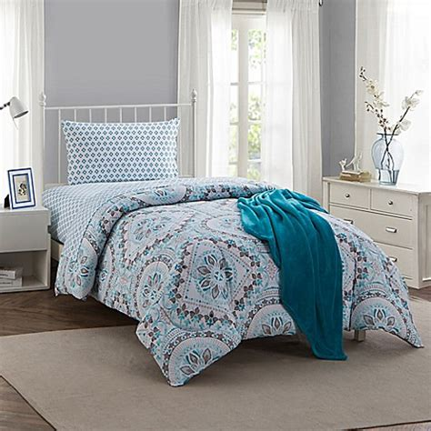 montoya  piece twintwin xl comforter set  teal bed
