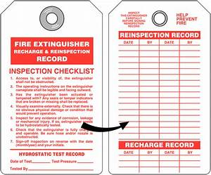 Fire extinguisher recharge and re inspection tag with for Fire extinguisher inspection tag template