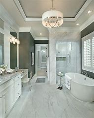 Bathroom Tiles with White Cabinets