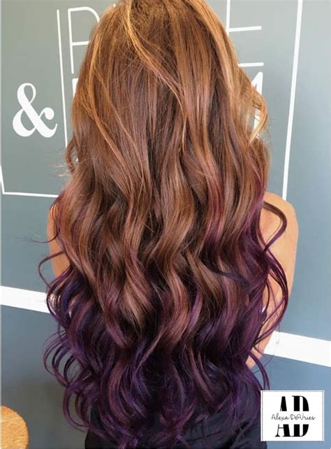 Beautifully Curled Purple And Brown Hair Balayaged