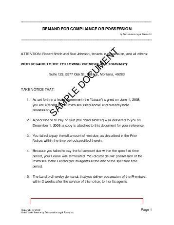 demand  compliance  possession nigeria legal