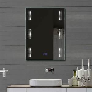 Badspiegel 80 X 60 : design badezimmer spiegel wandspiegel mit led beleuchtung und uhr 80x60cm fl0903 ebay ~ Bigdaddyawards.com Haus und Dekorationen