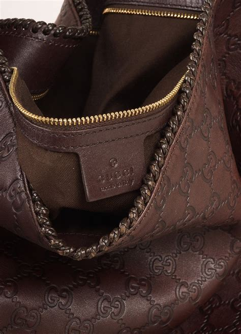 gucci chocolate brown leather large horsebit guccissima