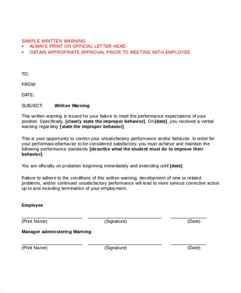 warning letter template   word  document