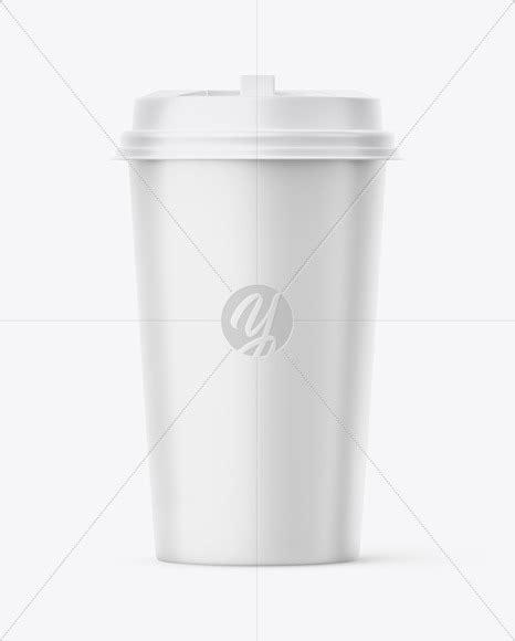 Small matte bottle label presentation mockup. Big Matte Paper Coffee Cup With Plastic Cap Mockup - Front ...