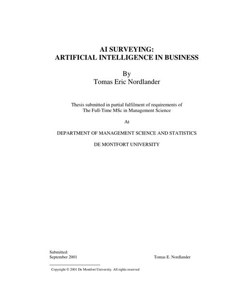 (PDF) AI Surveying: Artificial Intelligence in Business