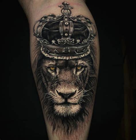 lion king wearing  crown  tattoo design ideas