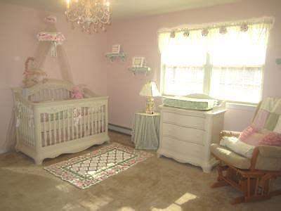 pink  white baby nursery decorated   princess