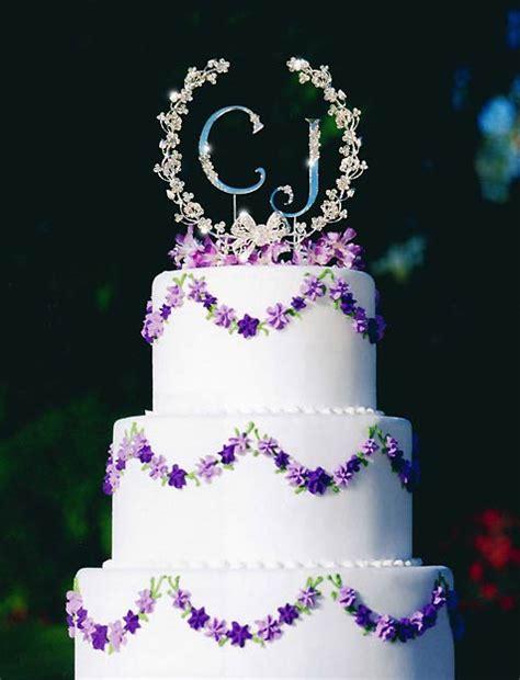 rhinestone bow floral garland wedding cake topper