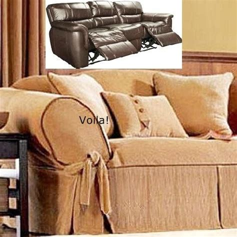 reclining sofa slipcover corduroy camel leather trim