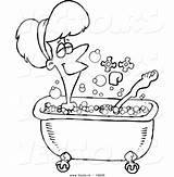 Bath Cartoon Coloring Bubble Taking Clipart Woman Outline Relaxed Drawing Vector Pages Take Leishman Ron Every Clipground sketch template