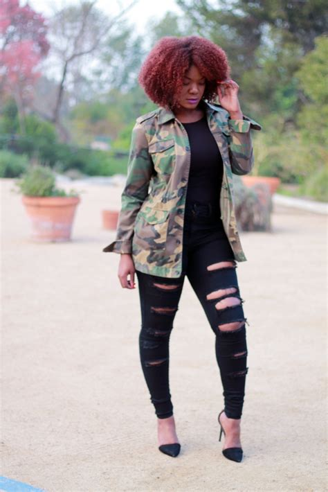 Outfit Inspiration Oversized Camo Jacket u0026 Ripped Jeans u2014 Arteresa Lynn