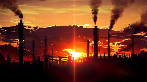 sunset factory tubes smoke industrial wallpapers hd