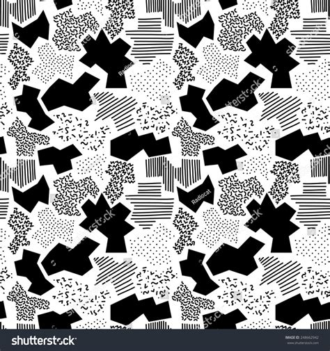 Abstract Shapes Black And White by Seamless Pattern With Abstract Shapes In Black And White 1